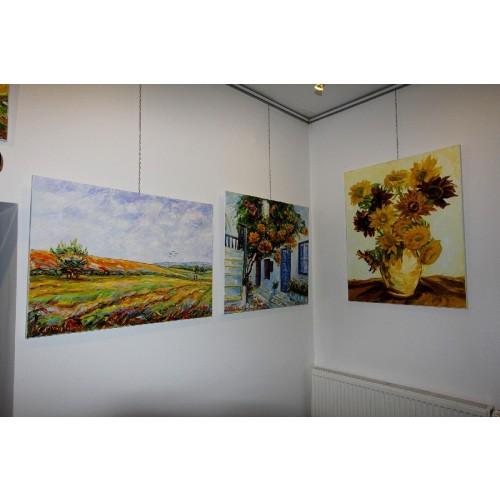 Obraz Olejny Wiśnia Ozdobna 80x80 Cm Malowany Szpachelką A17