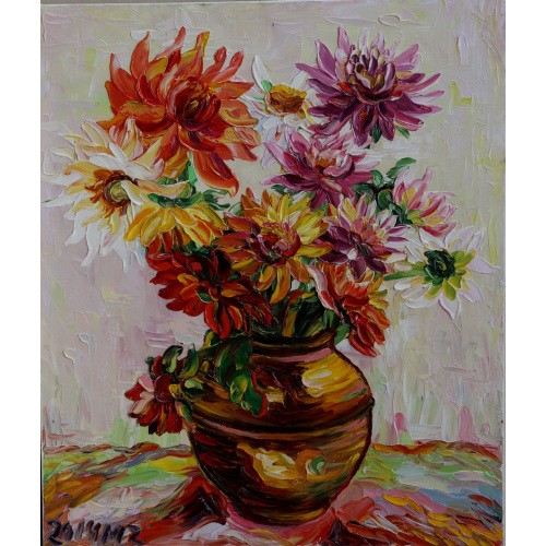 Obraz Olejny Dalie Pejzaż 70x60 Cm Malowany Szpachelką