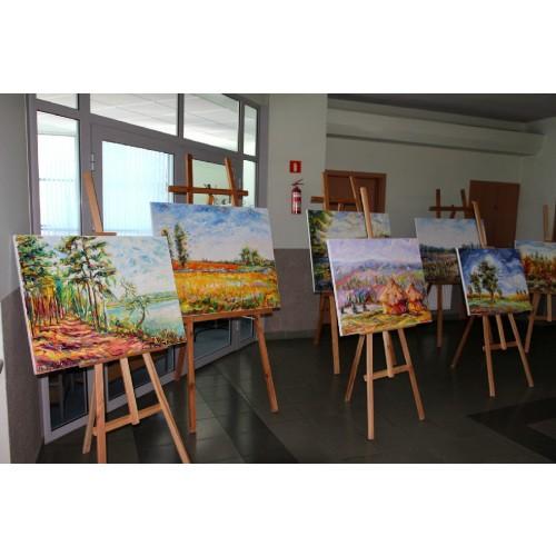 Obraz Olejny Kaczeńce Pejzaż 81x65cm Malowany Szpachelką