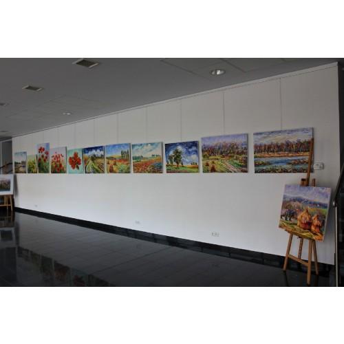 Obraz Olejny Słoneczniki Pejzaż 90x90cm Malowany Szpachelką