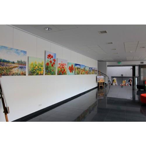 Obraz Olejny Irysy Kwiaty Pejzaż 80x60 Cm Malowany Szpachelką