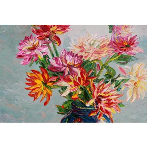 Obraz Olejny Kwiaty 100x80 Cm