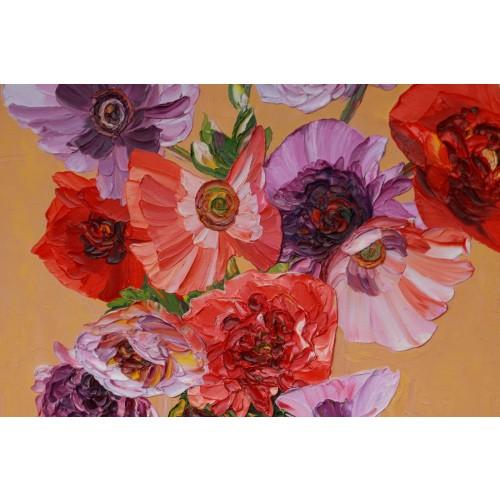 Obraz Olejny Kwiaty 100x90 Cm