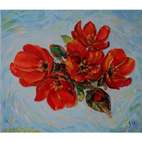 Obraz Olejny Pejzaż 80x70cm Malowany Szpachelką