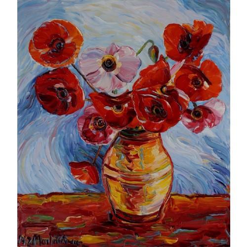 Obraz Olejny Maki Pejzaż 80x70cm Malowany Szpachelką