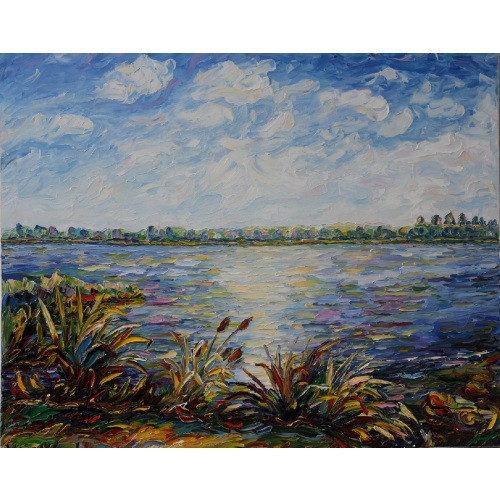 Obraz Olejny Pejzaż 100x80cm Malowany Szpachelką A19