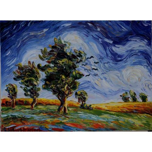 Obraz Olejny Pejzaż 81x60cm Malowany Szpachelką