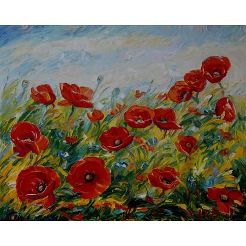 Obraz Olejny Maki Pejzaż 90x65cm Malowany Szpachelką