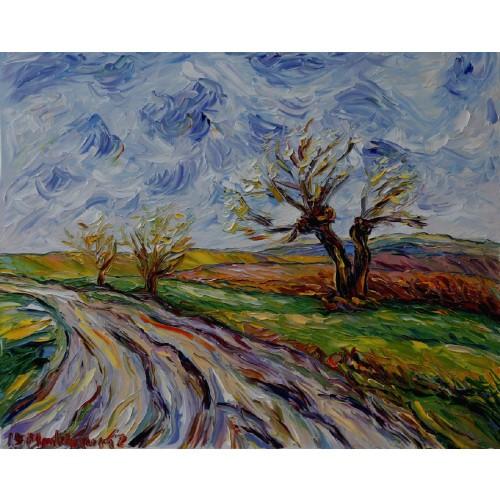 Obraz Olejny Pejzaż 81x61cm Malowany Szpachelką