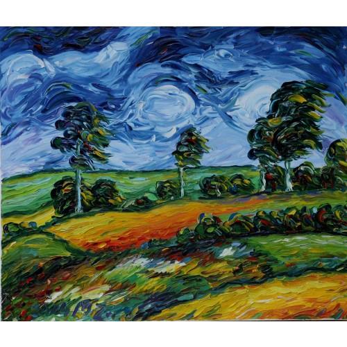 Obraz Olejny Pejzaż 70x60cm Malowany Szpachelką