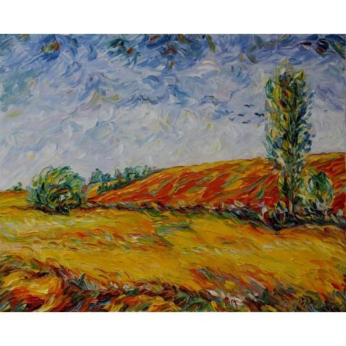 Obraz Olejny Pejzaż 100x80cm Malowany Szpachelką