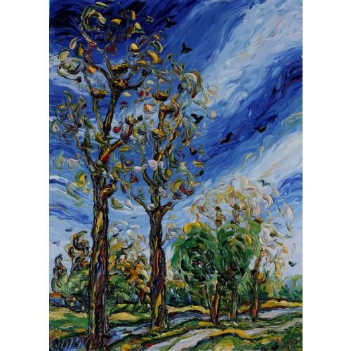 Obraz Olejny Pejzaż 85x60cm Malowany Szpachelką