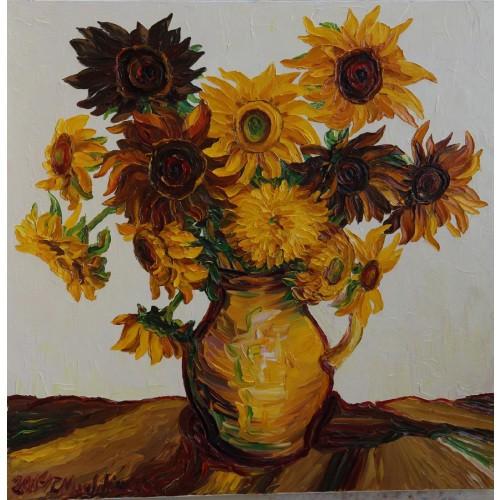 Obraz Olejny Słoneczniki Pejzaż 90x90 Cm Malowany Szpachelką