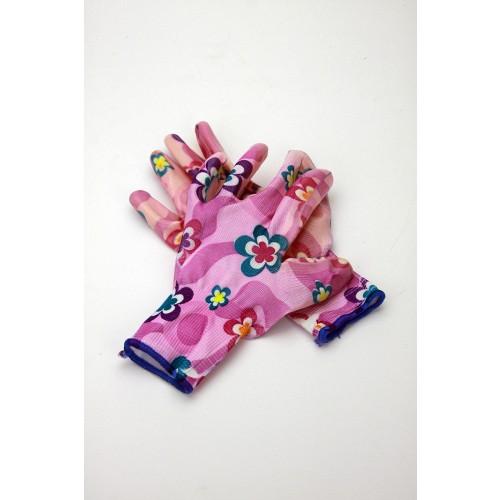 Rękawice Ogrodowe Kolorowe Podgumowane Kobiece M