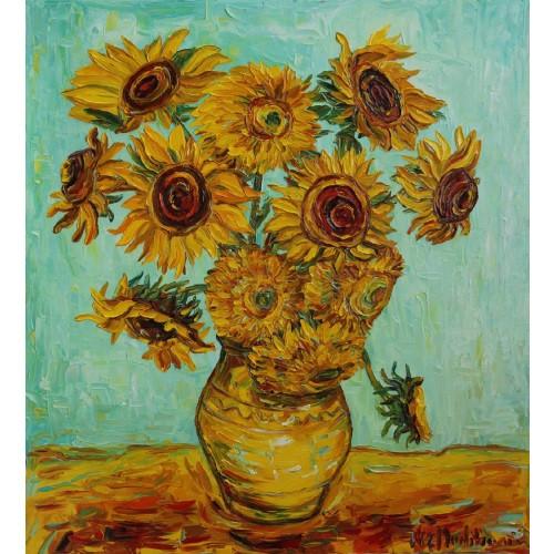 Obraz Olejny Słoneczniki Pejzaż 100x90cm Malowany Szpachelką