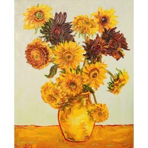 Obraz Olejny Kwiaty 110x90 Cm Malowany Szpachelką