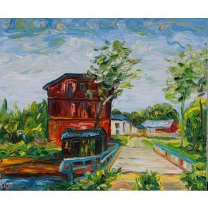 Obraz Olejny Pejzaż 73x62 Cm