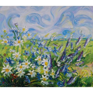 Obraz Olejny Kwiaty 80x70 Cm
