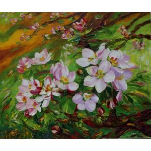 Obraz Olejny Kwiat Jabłoni 75x61 Cm Malowany Szpachelką