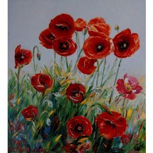 Obraz Olejny Maki Pejzaż 100x90cm Malowany Szpachelką