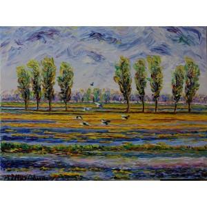 Obraz Olejny Pejzaż 100x75cm Malowany Szpachelką