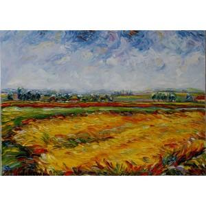 Obraz Olejny Pejzaż 90x65 Cm Malowany Szpachelką A18