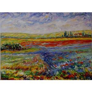 Obraz Olejny Pejzaż 75x100cm Malowany Szpachelką
