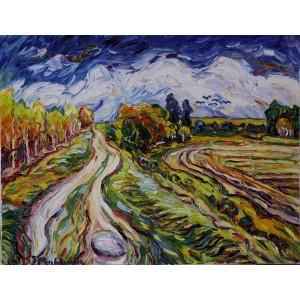 Obraz Olejny Pejzaż 90x33cm Malowany Szpachelką