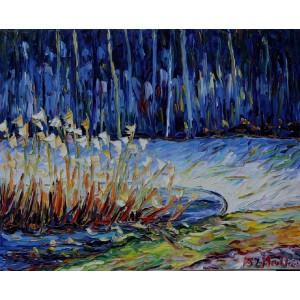 Obraz Olejny Pejzaż 71x65cm Malowany Szpachelką