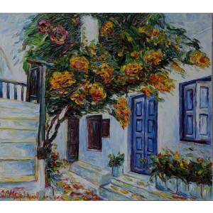 Obraz Olejny Santorini Pejzaż 90x80cm Malowany Szpachelką