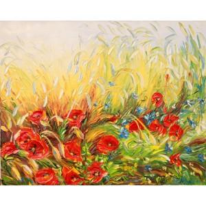 Obraz Olejny Kwiaty, Maki 100x80 Cm