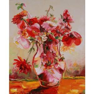 Obraz Olejny Kwiaty 80x65 Cm