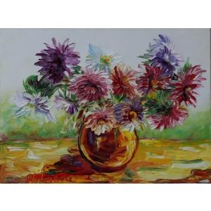Obraz Olejny Kwiaty Pejzaż 80x60cm Malowany Szpachelką