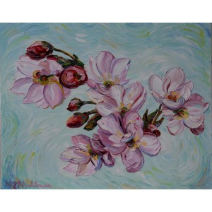 Obraz Olejny Wiśnia Kwiaty Pejzaż 81x65cm Malowany Szpachelką